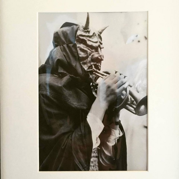 """Devil with Trumpet"""" photo from 1948 — at Stephen Romano Gallery."""