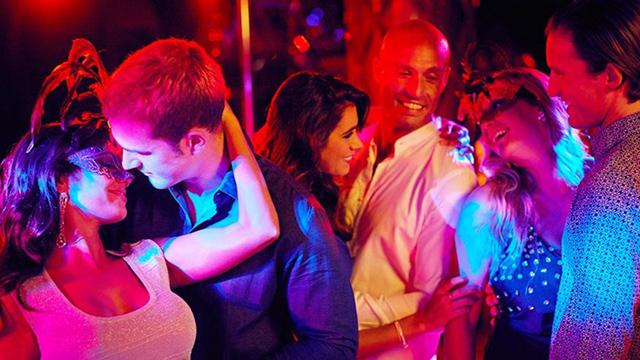 Attractive people dancing