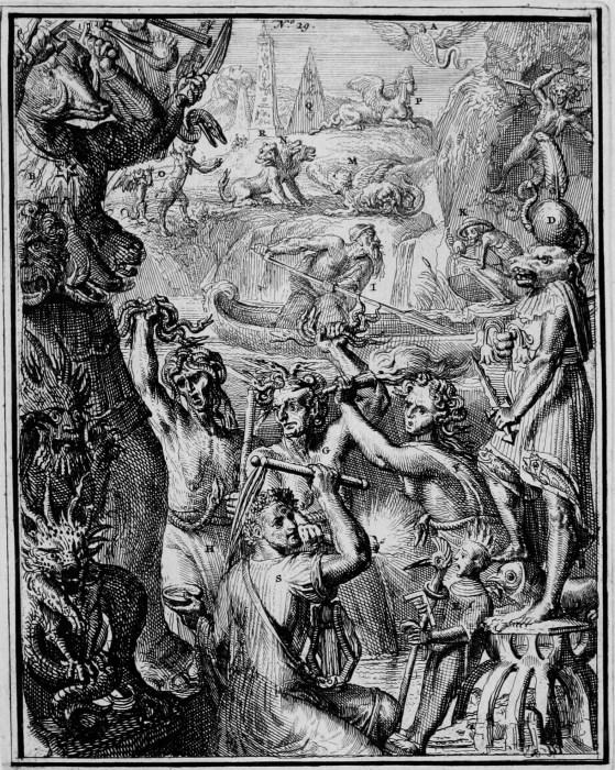 Romeyn de Hooghe -MYTHOLOGY-ICONOLOGY-CHARON-TYPHO-HYROGLYPHIC -1735 Plate 29 shows evil Gods. This plate shows A. Aspis; B. Otau; C. Zameluk; D. Typho; E. a statue symbolizing a bad year; F-H. Furies; I. Charon; K. Stygian might; L. Furrina; M. Chimaera; N. Cerberus; O. Maniae; P. Sphynxes; Q. obelisk; R. Semiramis; S. Jutrebok.