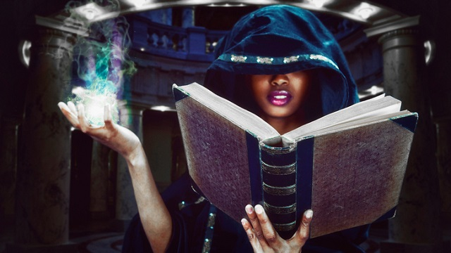 Witch casting a spell.