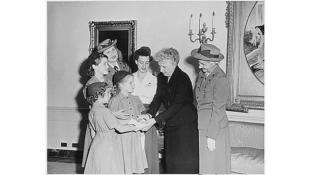 First Lady Bess Truman with a Delegation of Girl Scouts