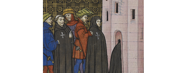Chroniques de France ou de St. Denis - caption: 'Arrest of the Templars' from the British Library