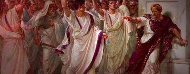Julius Caesar is stabbed in front of the Roman Senate