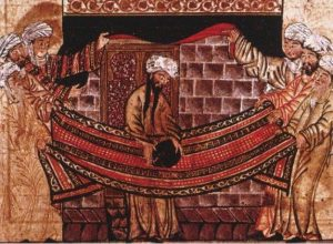 Miniature from Rashid-al-Din Hamadani's Jami al-Tawarikh, c.1315, illustrating the story of Muhammad's role in re-setting the Black Stone in 605.