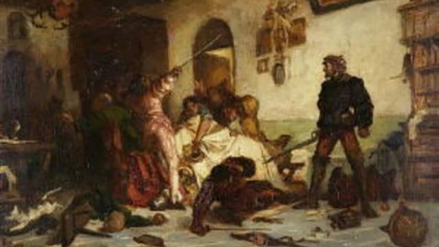 Ulrich von Hutten züchtigt Franzosen, a painting by Wilhelm von Lindenschmit the Younger