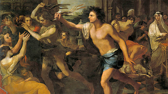 An artist's portrayal of Lupercalia, showing scantily clad Luperci flogging a crowd