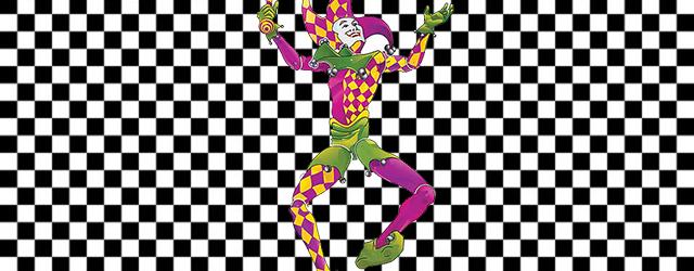 A court jester dances