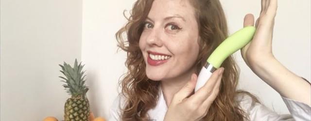 Venus O'Hara displays a vibrator