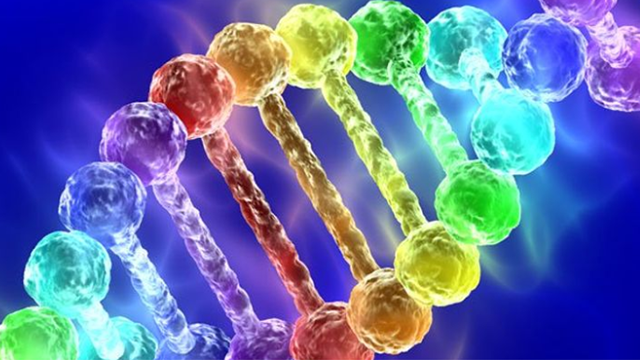 An image of DNA represented in rainbow colors
